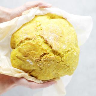 Golden NO knead vegan bread.