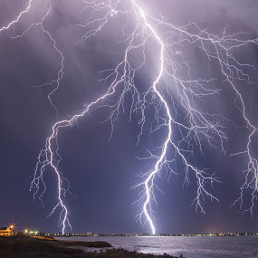 Lightning Strikes Mandurah by Steve Brooks - Landscapes Weather ( lightning, australia, weather, ocean, beach, thor, storms, sparks, western australia,  )