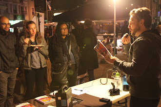 Photo: Tim McAtee reading from his novel The Hipsters, http://thehipstersnovel.com, at Oakland's First Friday at 25th Street and Telegraph in Oakland on February 1, 2013.