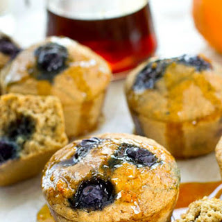 Blueberry Pancake Muffins with Warm Citrus Maple Syrup Recipe
