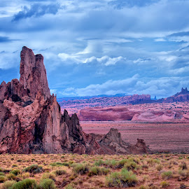 Desert Spire by Mike Moody - Landscapes Deserts ( clouds, desert, rocky spire, distant hills, red rock,  )