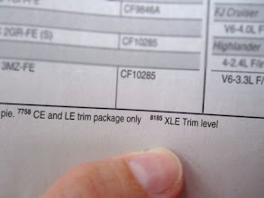 Photo: I found the footnotes at the bottom of the page, and they made a distinction between trim levels and I picked the one that matched our car.