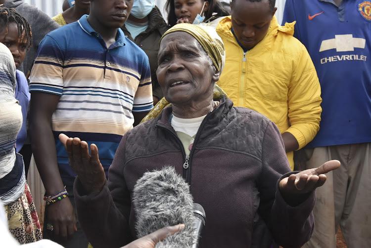 78-year-old Jane Nyambura speaks to the press in Kariua village, Gatundu North, on Tuesday.