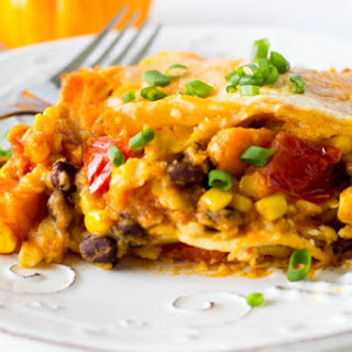 Crockpot Black Bean and Sweet Potato Enchiladas