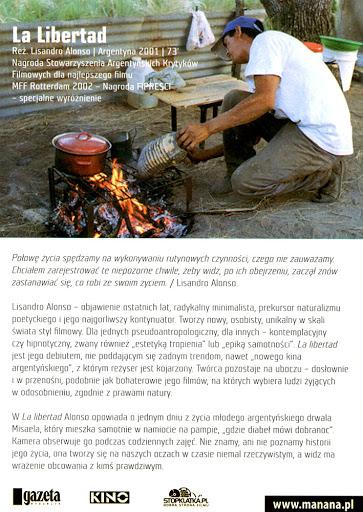 Tył ulotki filmu 'La Libertad'