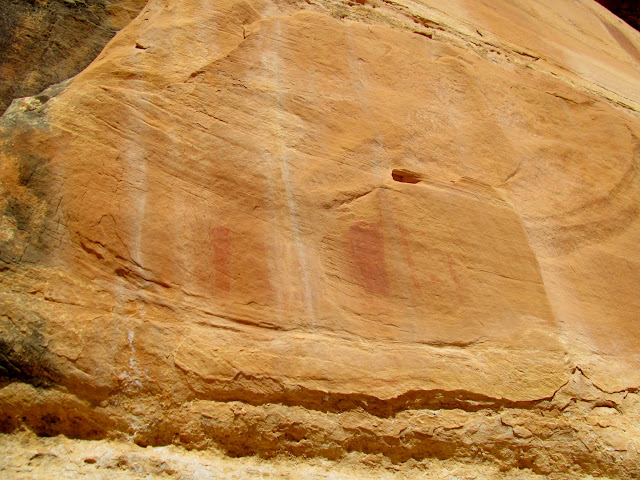 Weathered pictograph panel
