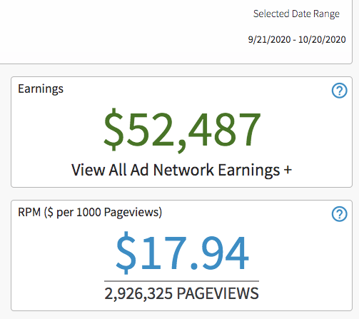AdThrive ad revenue 30 days