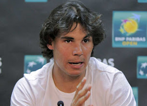 Photo: Rafael Nadal, of Spain, speaks during a news conference at the BNP Paribas Open tennis tournament, Thursday, March 8, 2012, in Indian Wells, Calif. (AP Photo/Mark J. Terrill)ā