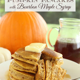 Pumpkin Pancakes with Bourbon Maple Syrup.