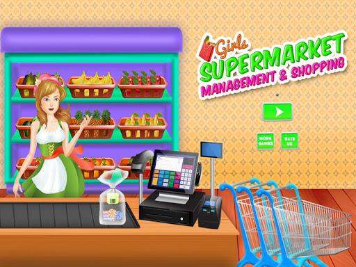 女孩超市购物