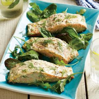 Roasted Salmon with Dijon-Dill Sauce