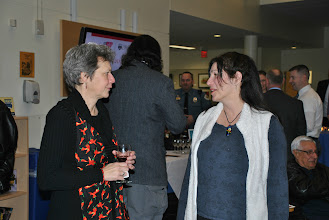 Photo: Artist Marti Shively speaks with one our guests.