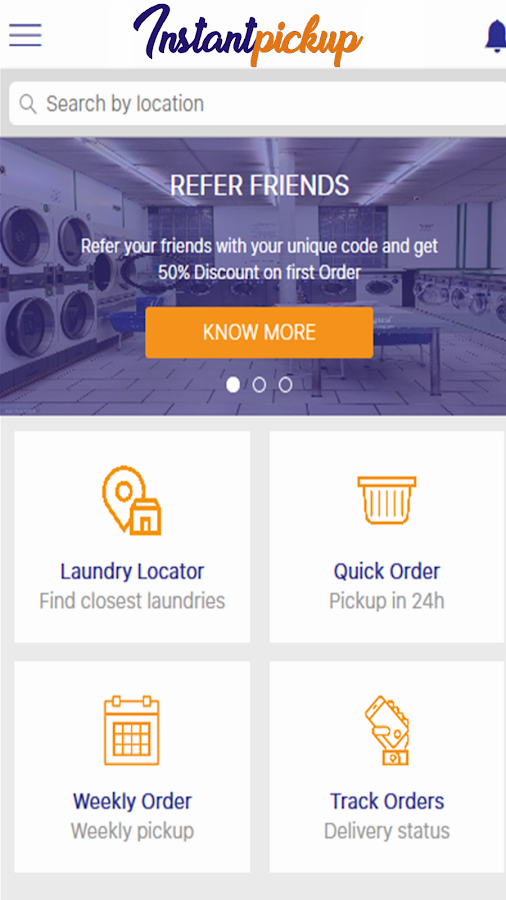 Instant Pickup Laundry App- screenshot