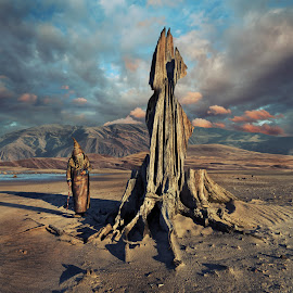 Archetype by Dariusz Klimczak - Digital Art People ( clouds, colour, fantasy, sculpture, story, mountain, klimczak, shadow, mood, square, surreal, light, man, kwadrart )