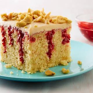 Peanut Butter & Jelly Doughnut Poke Cake.