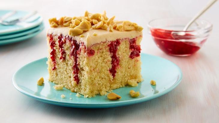 Peanut Butter & Jelly Doughnut Poke Cake Recipe
