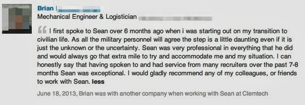 """Photo: Recommendation for Sean Durrant from Brian, an ex Military Mechanical Engineer & Logistician.  Brian was soon to be leaving the forces and looking for a job when we first started talking.  Brian said – """"I first spoke to Sean over 6 months ago when I was starting out on my transition to civilian life. As all military personnel will agree the step is a little daunting even if it is just the unknown or the uncertainty.  Sean was very professional in everything that he did and would always go that extra mile to try and accommodate me and my situation.  I can honestly say that having spoken to and had service from many recruiters over the past 7-8 months Sean was exceptional.  I would gladly recommend any of my colleagues, or friends to work with Sean.  Ex Military Engineers – Watch this http://goo.gl/DrDAvf"""