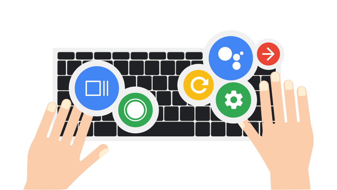 Chrome OS training game promo image of two hands on a keyboard