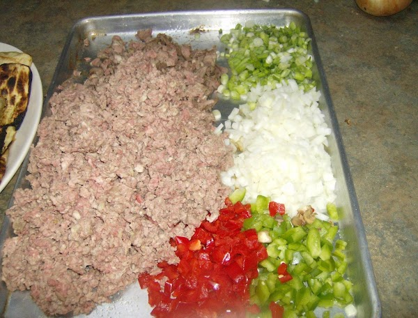 Chopped Veggies and chopped & Cubed Lamb for Southern Style Moussaka