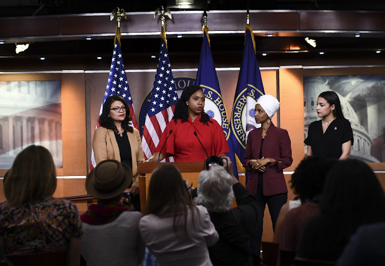 Four Democratic congresswomen (from left to right) Rashida Tlaib, Ayanna Pressley, Ilhan Omar and Alexandria Ocasio-Cortez address remarks made by US President Donald Trump on July 15 2019 in Washington, US. Trump renewed attacks on them on July 21 2019, demanding they apologise 'for the horrible (hateful) things they have said'.