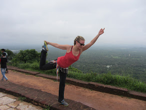 Photo: More Yoga on a ledge. (Sigiriya)