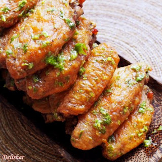 Perfectly Crispy Lime Cilantro Wings.
