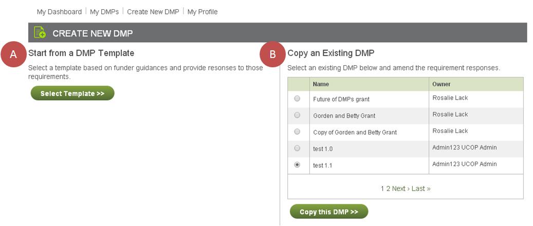 Create New DMP