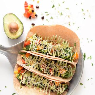 5 Minute Vegetarian Tacos with Avocado Cream Recipe