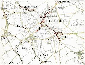 Photo: Plattegrond Tilburg van 1760 - Detail van de manuscriptkaart van de heerlijkheid Tilburg en Goirle uit 1760 van de hand van Diederik Zijnen.  Nagetekend door L. Langeweg, ingekleurd door R. Peeters. Tilburg Centrum.