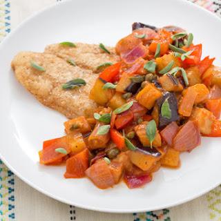 Crispy Catfish with Sicilian Eggplant Caponata.
