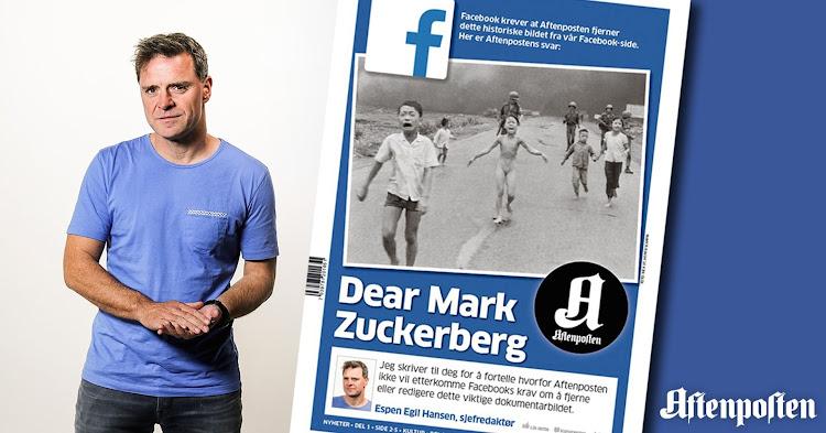 Espen Hegil Hansen met voorpagina Aftenposten met de foto