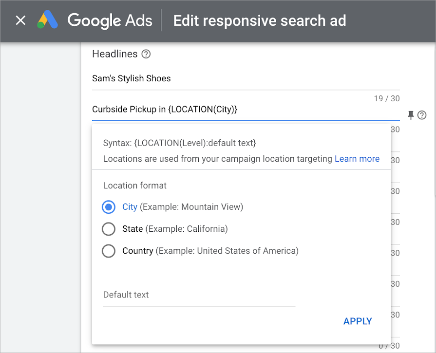 Screenshot showing the option to set up location insertion for your responsive search ads