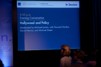 """Photo: Slide for the """"Hollywood and Policy"""" panel discussion Friday, Nov. 16 at the RAND Politics Aside event in Santa Monica."""