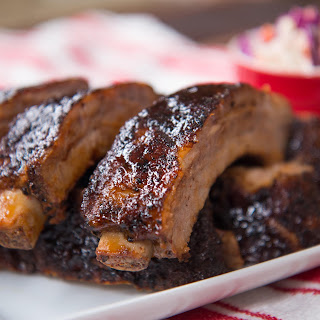 Baby Back Ribs with Sticky BBQ Sauce & Slaw.