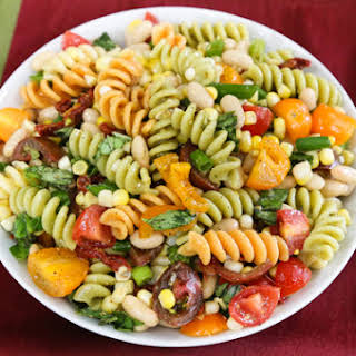 Pasta Salad with White Beans and Corn.