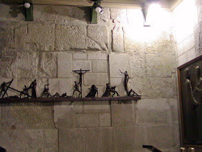 Photo: A few steps from the tomb is the Chapel of Mary Magdalene. On the wall were contemporary Stations of the Cross.