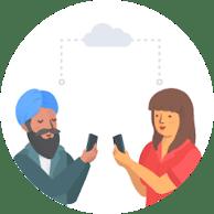 Man and Woman comunicating through cloud