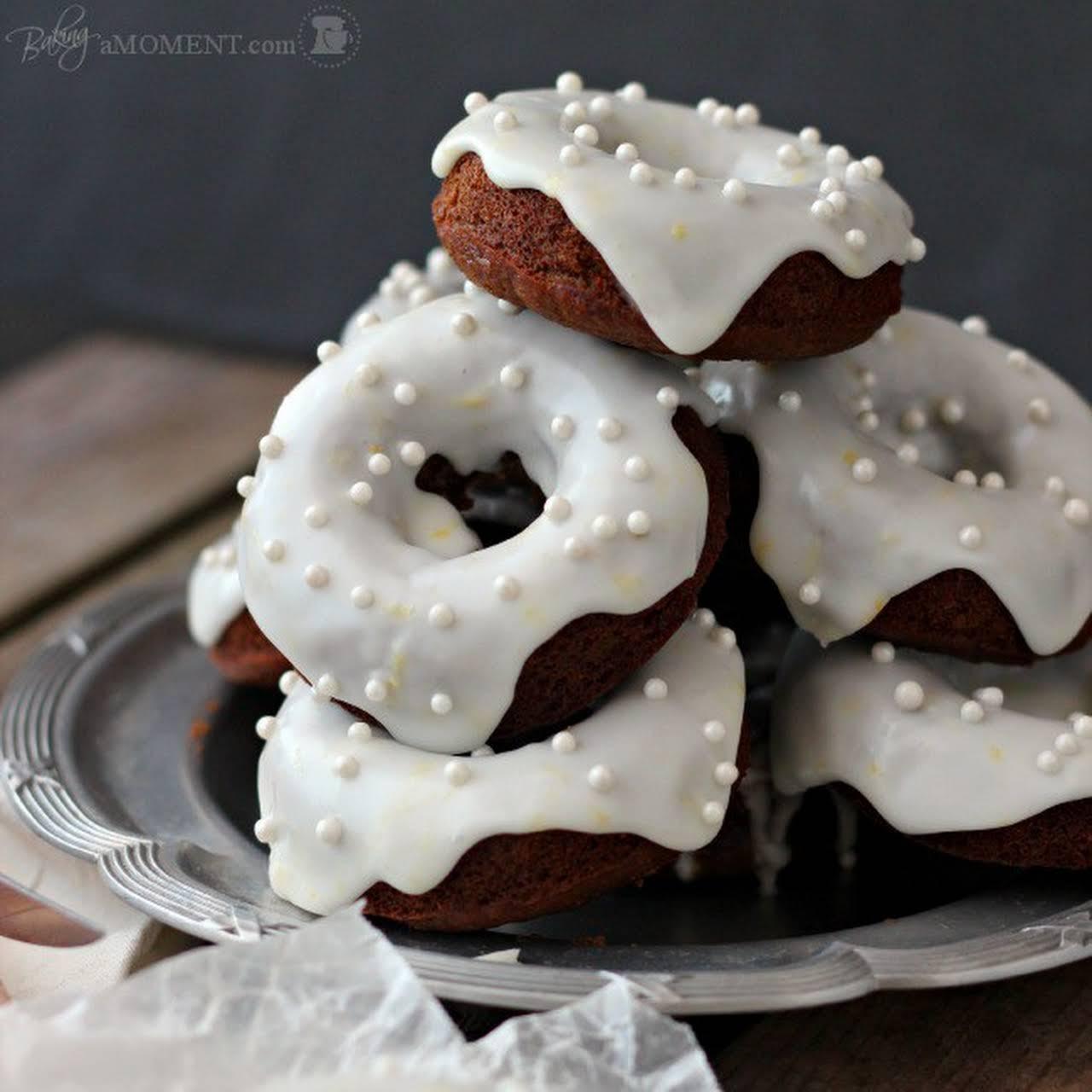 Baked Gingerbread Donuts with Lemon Yogurt Glaze