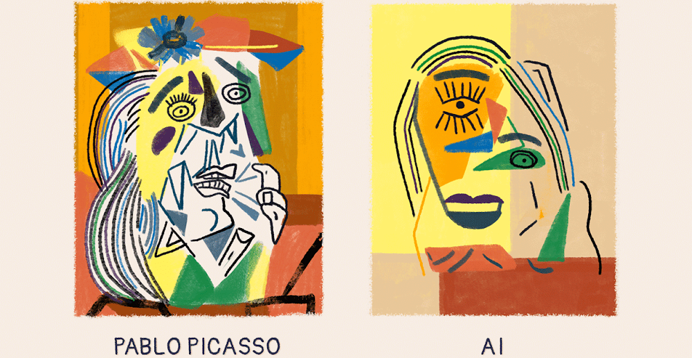 A side-by-side comparison of two portraits in Picasso's expressionist style — one made by Picasso, one made by AI.