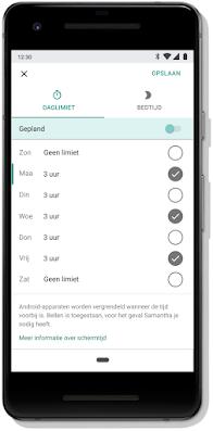 Een mobiel scherm voor het plannen van de daglimieten van apparaten