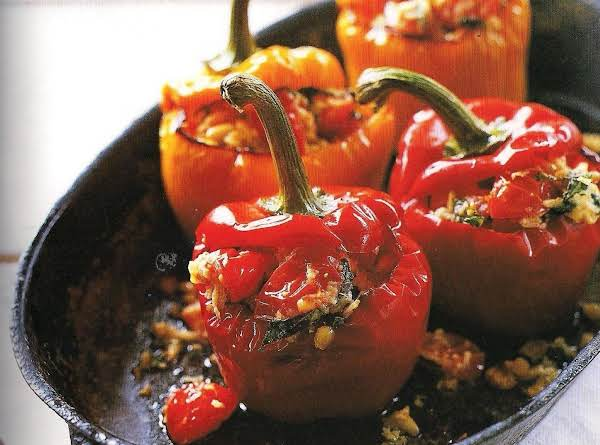 Roast Bell Peppers Stuffed With Pasta And Tomatoes