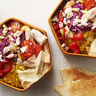 Mediterranean Chicken Pita Bowls.
