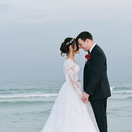 Lace of Love by Autumn Wright - Wedding Bride & Groom ( love, bride, groom, beach, wedding )