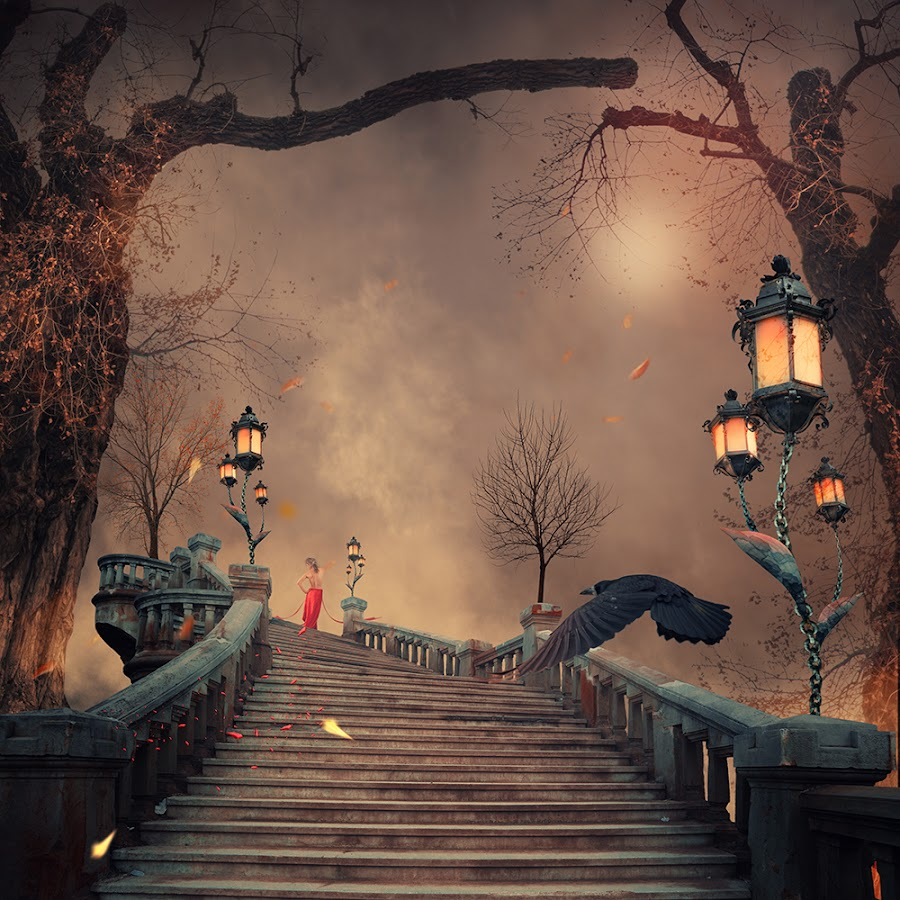 Fall of the autumn by Caras Ionut - Digital Art Places ( clouds, water, mystery, wood, tutorial, white, ocean, sleeping, feather, stage, manipulation, smoke, dove, child, psd, red, fog, fly, wife, sunset, pier, ponton, bride, mist )