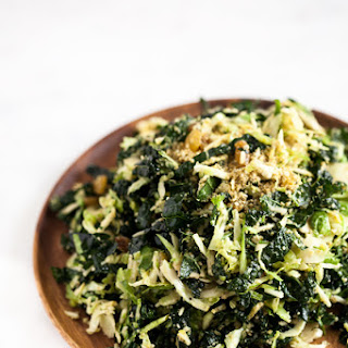 Shaved Brussels Sprout and Kale Salad with Lemon Maple Dressing and Hemp + Pumpkin Seed Parmesan