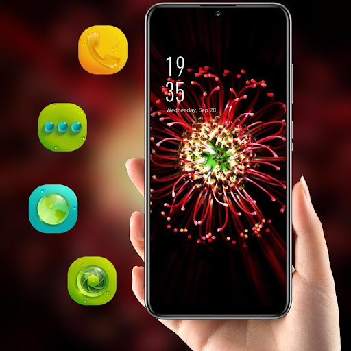 Red glowing full bloom flower theme 2.0.50 screenshots 1
