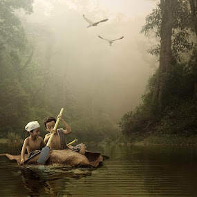 leaf boat by Budi Cc-line - Digital Art People ( art, children, forest, boat )