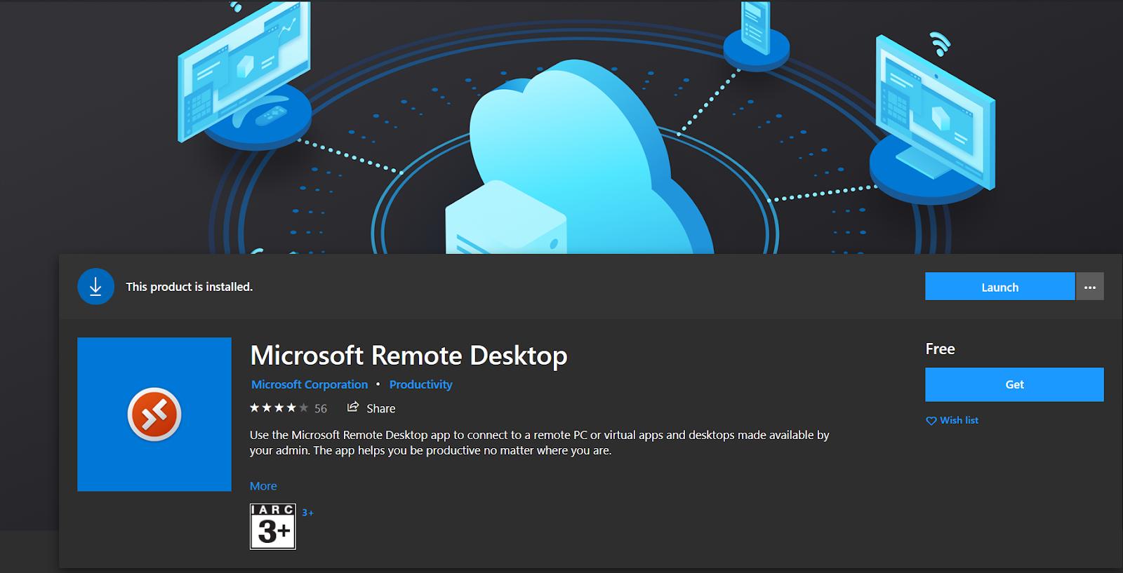 MS Remote Desktop in MS store