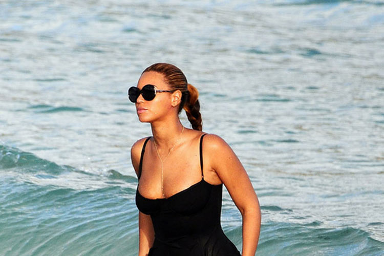 Beyonce along one of Anguilla's pristine beaches.