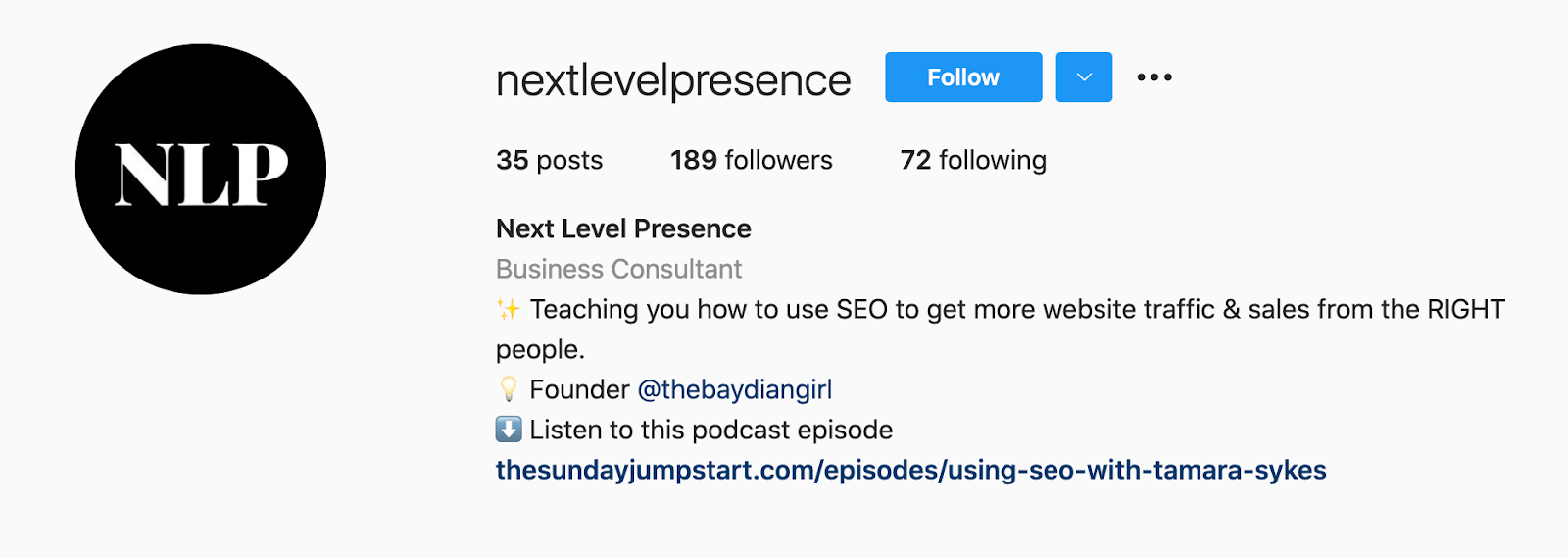 example of how to get more followers on instagram with an optimized profile